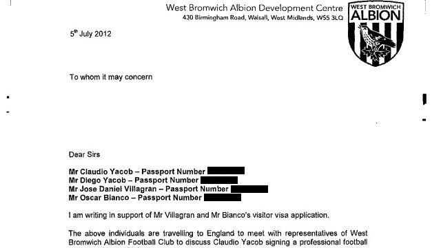 In July 2012, West Brom wrote a letter in support of visa applications for Yacob and his brother Diego as well as Jose Daniel Villagran and Oscar Bianco to bring them over from Argentina. Just what was the role -- if any -- of Villagran and Bianco in this transfer?