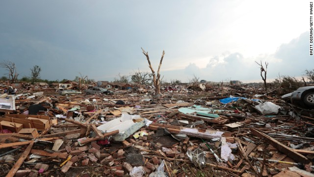 Debris covers the ground after a powerful tornado ripped through neighborhoods Monday in Moore, Oklahoma.