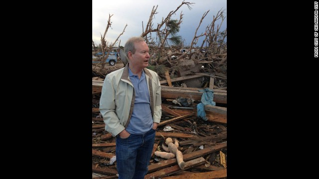 Oklahoma City Mayor Mick Cornett surveys damage in Moore on May 21.