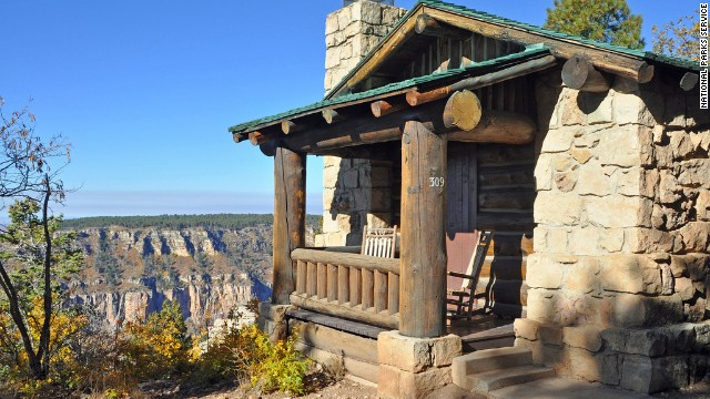 Some National Park Service cabins, like this rustic cabin at the Grand Canyon Lodge (North Rim), have running water and electricity.