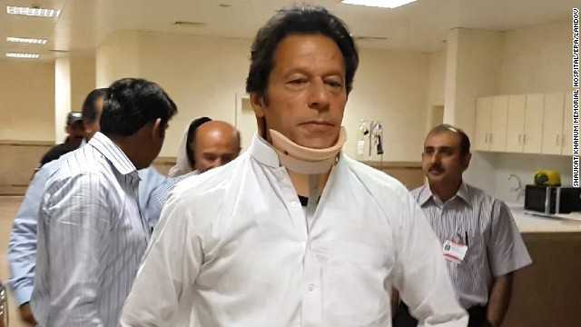 Imran Khan, head of Pakistan's Tehreek-e-Insaf party, leaves the hospital in Lahore, Pakistan, on Wednesday, May 22. Khan suffered spinal fractures and a head injury when he toppled from a forklift that was raising him up to a stage as he campaigned in Lahore for elections held on May 11. Victory in the elections went to Nawaz Sharif, a two-time former prime minister, and his party, the Pakistan Muslim League.