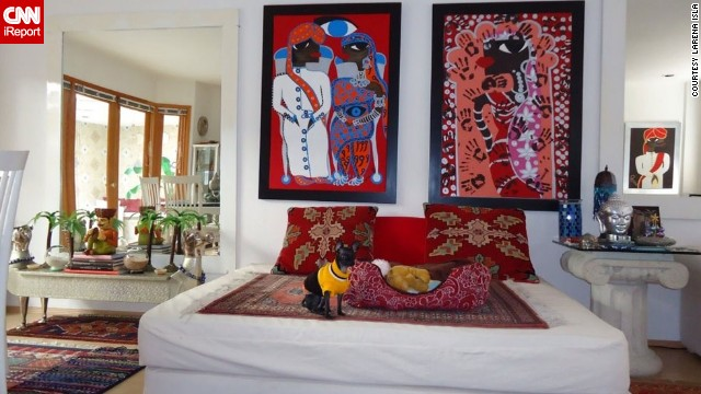 <a href='http://ireport.cnn.com/docs/DOC-944252'>Larena Isla</a>, a painter in Mexico City, brought back memories of India, Nepal and Dubai in her dining room. She placed a bed on the floor in the room and surrounded it with her paintings, inspired by the time she spent in India.