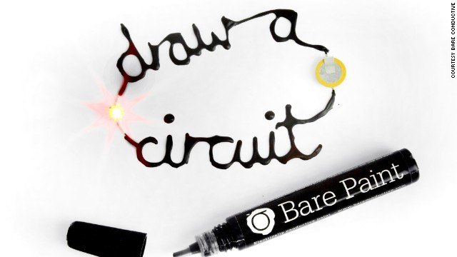 The Bare Conductive paint pen contains a non-toxic electrically conductive paint. The pens work the same way as glitter glue pens, and are designed to help people explore elecronics, and learn about circuit making.