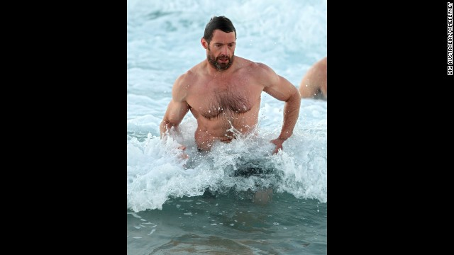 """Wolverine"" star Hugh Jackman enjoyed an early morning swim at Bondi Beach in Sydney in July 2012."