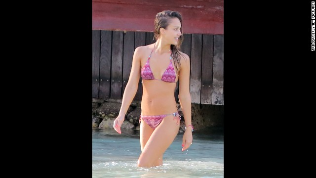 Jessica Alba vacationed with husband Cash Warren in St Barts in April 2013.