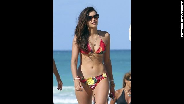 Nina Dobrev hung out with friends (including actress Julianne Hough) on the beach in Miami in April 2013.