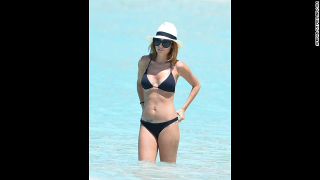 Nicole Richie donned a black bikini in St Barts in April.