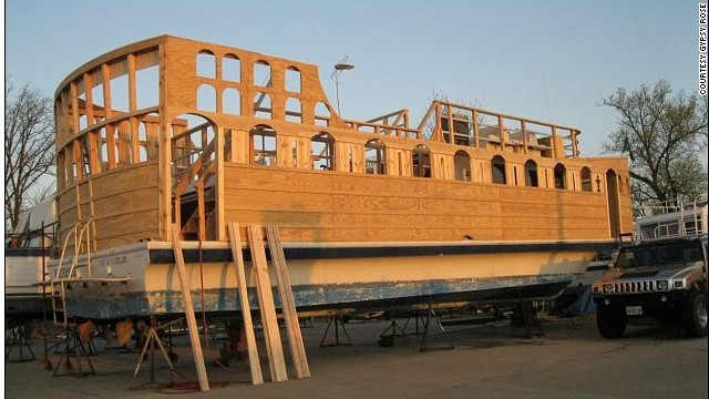 "Woodson uses old house boats as the base for his pirate ships, covering them in planks of wood and staining it in varnish to ""make it look like something from 1689."""