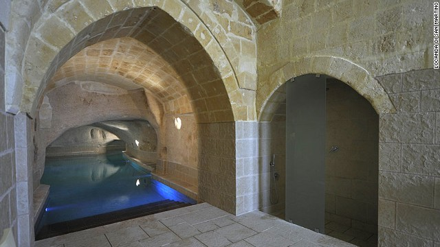 Locanda di San Martino Hotel e Thermae in Matera, Italy, pays homage to the baths of the Roman Empire.