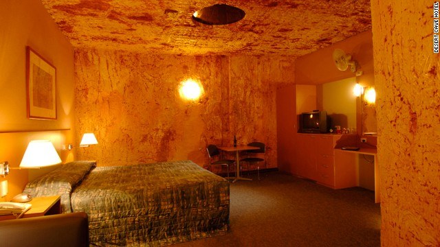 The Desert Cave Hotel in the Australian Outback town of Coober Pedy showcases the local tradition of using underground dwellings to escape the heat.