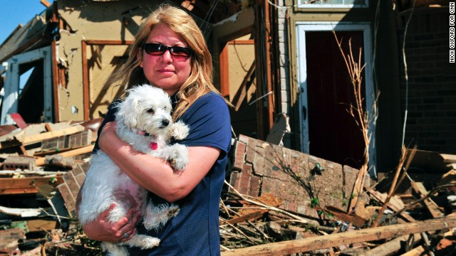Lori Lacey found her dog Lillie two days after the tornado destroyed her home.