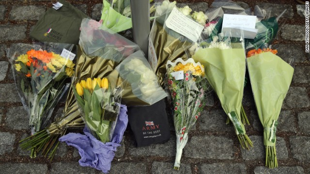 Flowers lie outside Woolwich Barracks on May 23.