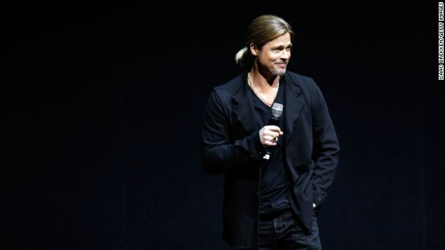 "Pitt speaks at a Paramount Pictures presentation to promote his upcoming film, ""World War Z"" during CinemaCon on April 15, 2013, in Las Vegas."