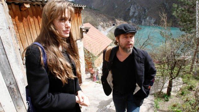 Jolie and Pitt visit refugees in the village of Medjedja, Bosnia, on April 5, 2010.