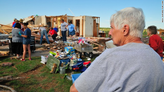 Kay Taylor, 63, moved into her home here after the 1999 tornado. She plans to rebuild.