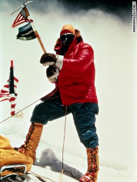 Whittaker summits Mount Everest on May 1, 1963, at 1 p.m.