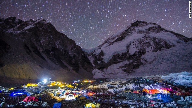 Mount Everest base camp at night during the 2012 expedition.
