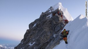 Sandra LeDuc captured this photo as climbers approached the Hillary Step, before the Everest summit.