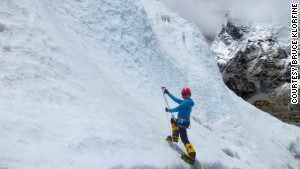 Shriya during a practice climb, before attempting Everest.