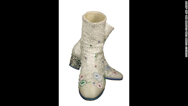 A pair of white boots