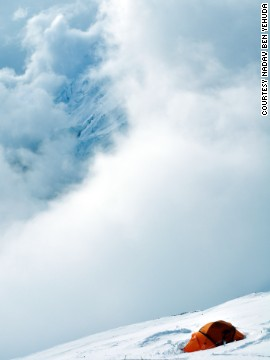 Ben Yehuda's photo of a lone tent at Camp 3 shows the loneliness that can reign on Everest.