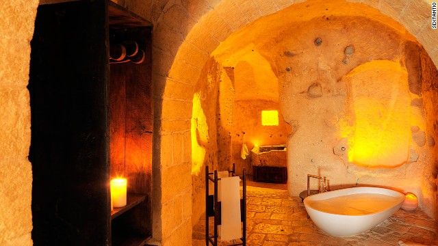 Le Grotte della Civita is a hotel spread across ancient cave dwellings in the town of Matera, Italy.
