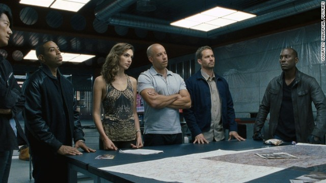 Sung Kang (from left), Ludacris, Gal Gadot, Vin Diesel, Paul Walker and Tyrese Gibson in