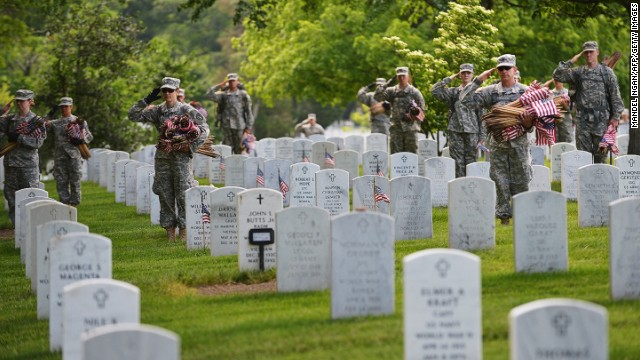 Members of the Third US Infantry Regiment, The Old Guard, salute at a funeral in Arlington National Cemetery in Arlington, Virginia.