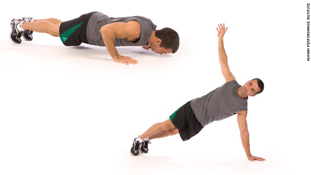 Push-up rotation: Works upper body