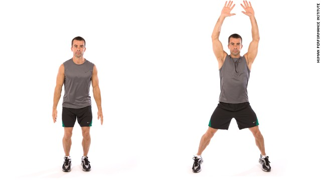 Instructions: Do as many reps of each move as you can in 30 seconds, resting 10 seconds in between. Repeat the circuit two to three times. First up, jumping jacks.