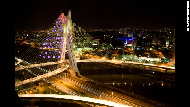Octavio Frias de Oliveira Bridge, Sao Paulo, Brazil.