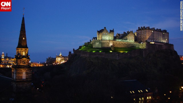 This glittering shot of the Edinburgh Castle was captured by iReporter Clayton Riddell. The castle is actually a fortress located in Edinburgh, Scotland, and is now one of the area's top tourist attractions.