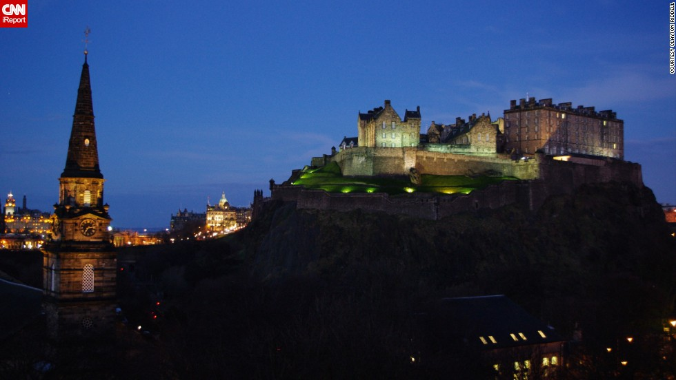 This glittering shot of the Edinburgh Castle was captured by iReporter <a href='http://ireport.cnn.com/docs/DOC-959157'>Clayton Riddell</a>. The castle is actually a fortress located in Edinburgh, Scotland, and is now one of the area's top tourist attractions.