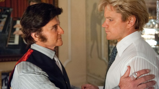 "Michael Douglas stars as Liberace and Matt Damon as Scott Thorson in the Steven Soderbergh-directed film ""Behind the Candelabra."""