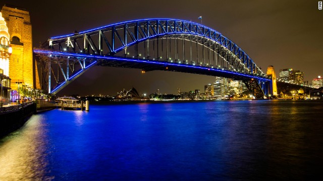 The festival is in its fifth year and 2013 is the first time the Sydney Harbour Bridge has been lit up as part of the show. There is an interactive programming station that allows the public to control the lights on the bridge.