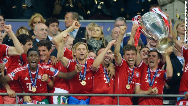 Bayern Munich captain Phillip Lahm lifts the Champions League trophy at Wembley Stadium in May