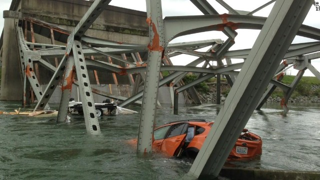 Two cars plunged into the Skagit River in Washington State when the Interstate 5 bridge over it collapsed. Authorities estimate it will take $15 million to repair that portion of the state's main artery to Canada.