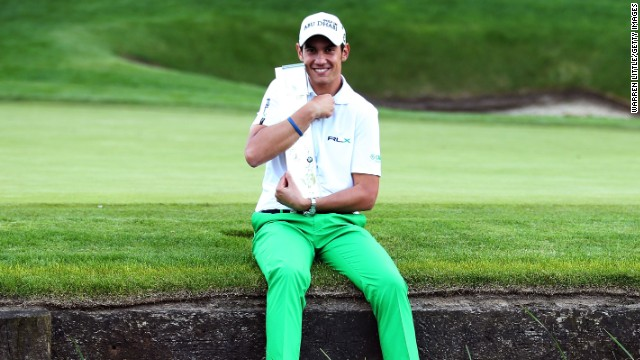 Italy's Matteo Manassero was all smiles after winning the PGA Championship in a playoff.