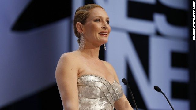 Uma Thurman prepares to announce the Palme d'Or award on May 26.