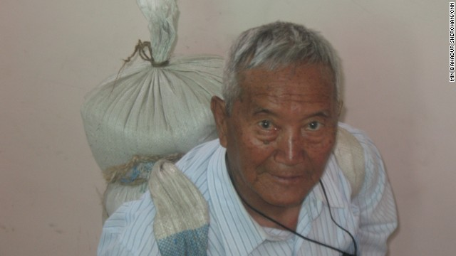 To prepare for Everest, Min Bahadur Sherchan, 81, carried a 25-kilogram load up and down the stairs of his home.