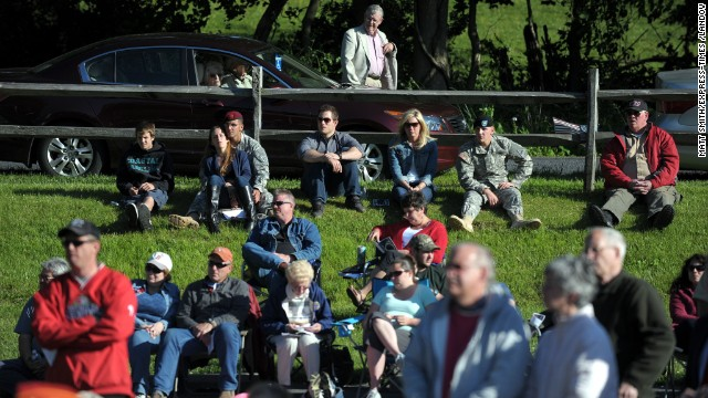 Participants remember veterans during a Memorial Day weekend ceremony on May 26 in Williams Township, Pennsylvania.