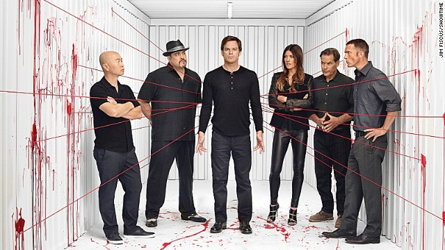 "C.S. Lee as Vince Masuka, from left, David Zayas as Angel Batista, Michael C. Hall as Dexter Morgan, Jennifer Carpenter as Debra Morgan, James Remar as Harry Morgan and Desmond Harrington as Joey Quinn are back for another bloody season of ""Dexter."""