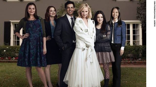 "Heather Burns as Jenna, from left, Alexandra Breckenridge as Carly, Michael Landes as Tom, Anne Heche as Beth, Madison Davenport as Emily and Joy Osmanski as Maggie have found a home on NBC's ""Save Me."""