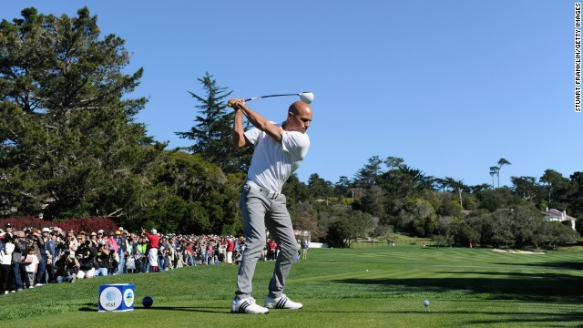 Slater is also a golf enthusiast. He is pictured at the 3M Celebrity Challenge in Pebble Beach, California, February 2011.