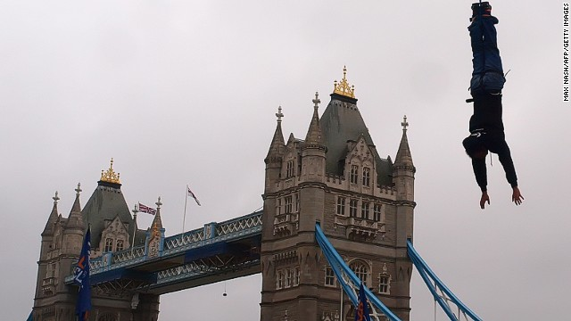 Britain's James Field attempted to beat the Guinness World Record for the greatest number of consecutive bungee jumps in 60 minutes by one person. Fields finally reached 42 in an hour, easily beating the former record of 19, near London's Tower Bridge, on September 26, 2010.