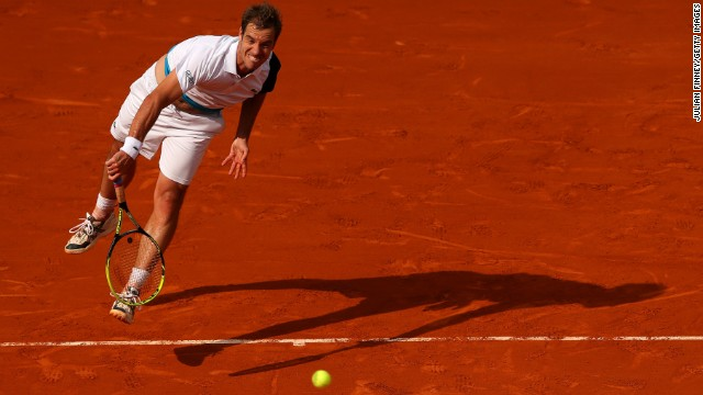 Richard Gasquet of France serves to Sergiy Stakhovsky of Ukraine during day two of the French Open on May 27. Gasquet won the match 6-1, 6-4, 6-3.