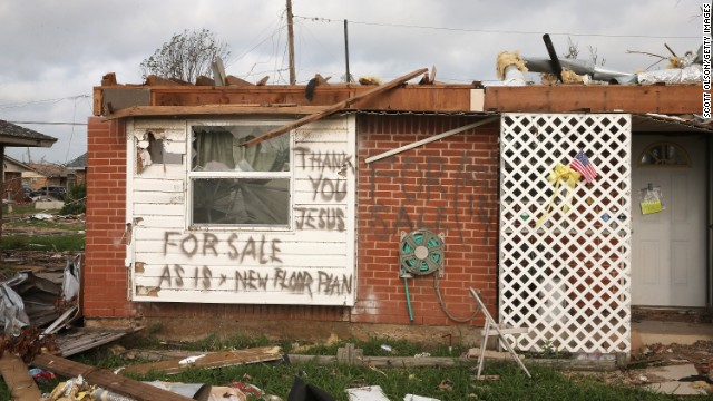 A message is left by a homeowner who lost his home in the May 20 tornado on Monday, May 27, in Moore, Oklahoma. <a href='http://www.cnn.com/2013/05/20/us/gallery/midwest-weather/index.html'>View more photos of the aftermath in the region</a> and another gallery of <a href='http://www.cnn.com/2013/05/21/us/gallery/oklahoma-tornado-aerials/index.html'>aerial shots of the damage</a>.