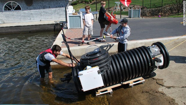 The submarine, christened the Nautilus in a nod to Jules Verne, can dive to a depth of 30 feet, though so far Justin's father, Ken, has only let him go as deep as six.