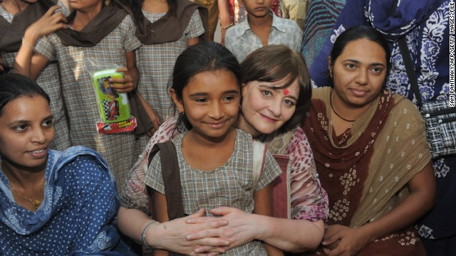 Cherie Blair during her visit to the Rural Distribution Network India (RUDI) agricultural processing centre at Dhragandhra town, some 120 kms from Ahmedabad in India, on March 19, 2013.