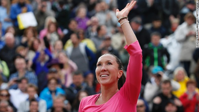 Serbia's Jelena Jankovic celebrates after winning against Slovakia's Daniela Hantuchova on May 28. Jankovic defeated Hantuchovan 6-4, 7-6(7).